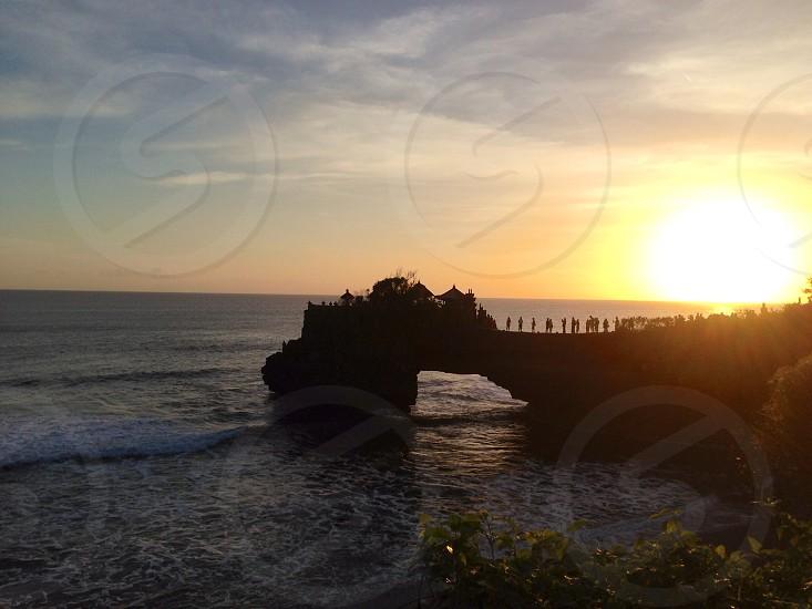 sunset over horizon photo