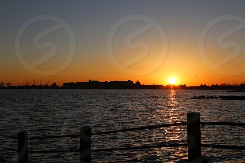 Sunset Sunrise Ocean Sea Water Sun Park Landscape photo