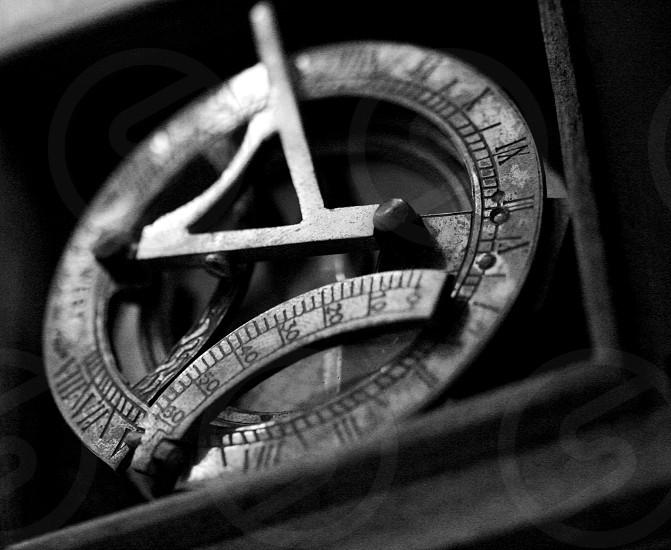 B&W Old Vintage Antique Compass photo