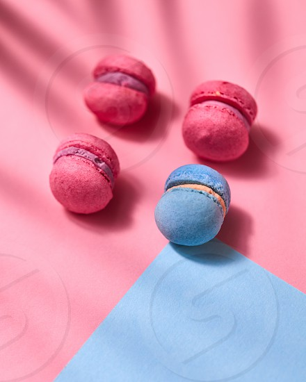 Beautiful composition of blue and pink macaroons with shadows on a blue pink cardboard background photo