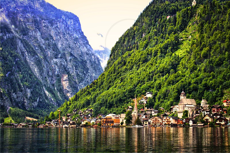 Hallstatt Austria travel tourism mountains lake photo