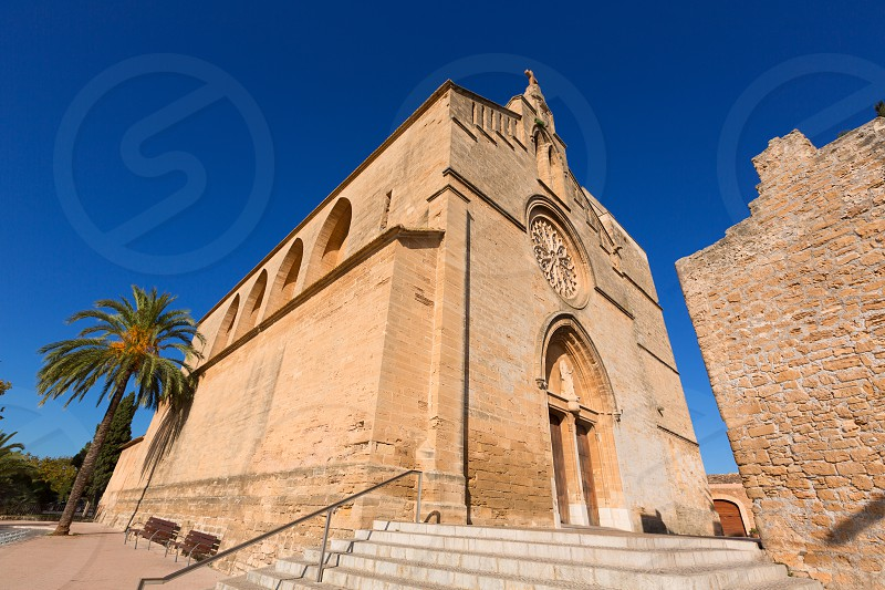 Alcudia Old Town Sant Jaume church in Majorca Mallorca Balearic island of Spain photo