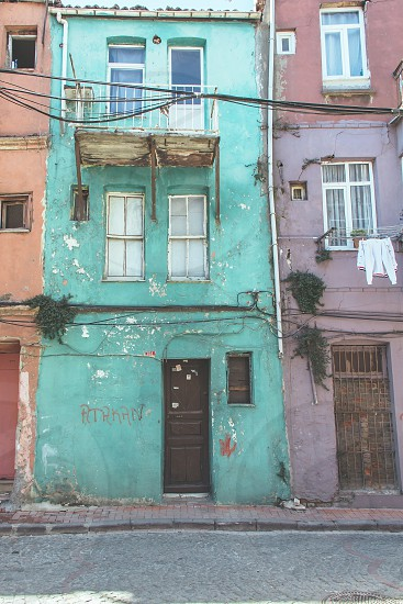 Colourful buildings in Balat Istanbul photo