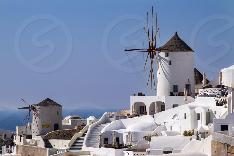 Windmill alternative energy Greece Santorini photo