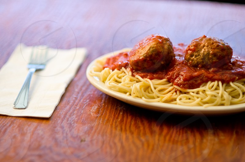 italian food meatballs spaghetti dinner plate italy photo