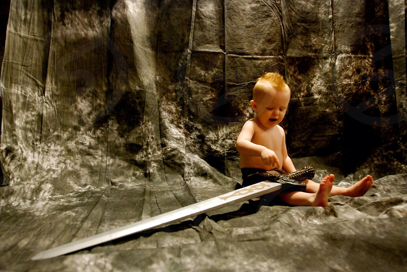 Children kids boys Mohawk sword  photo