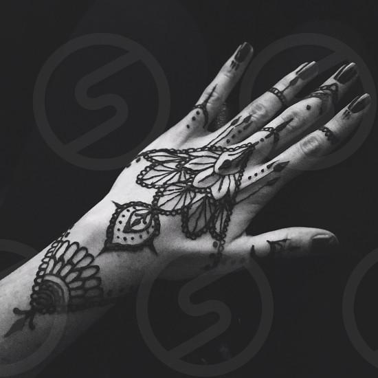 Hand henna tattoo henna tattoo black and white photo