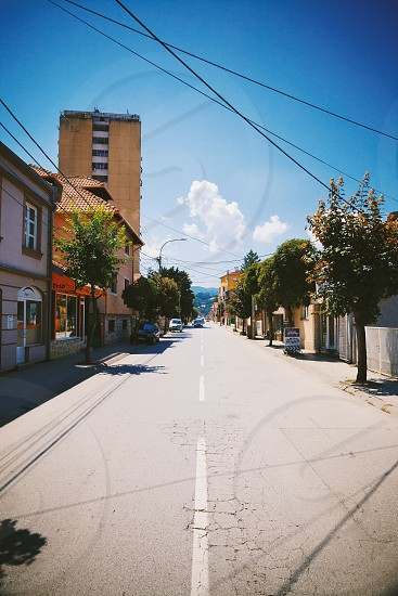 Cacak Serbia - July 20 2019: One ordinary street in town during summer day details of infrastructure.  photo