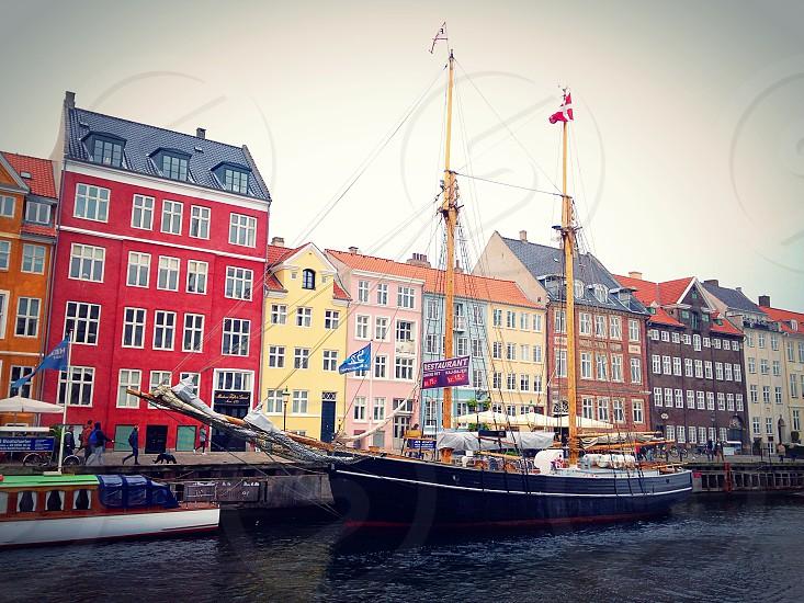 Denmark Copenhagen traveling houses colors street Europe Scandinavia    photo