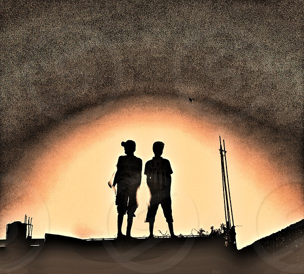Sunset with Black Shadow #sunset #people #grainy #vintage photo