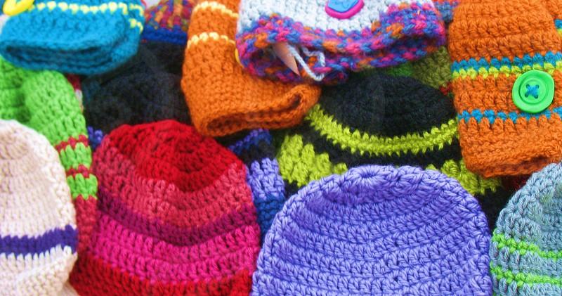 hand-knit winter hats photo