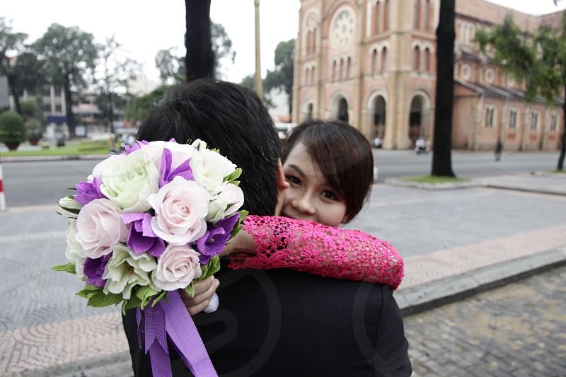 Happy together on pre-wedding photo shooting photo