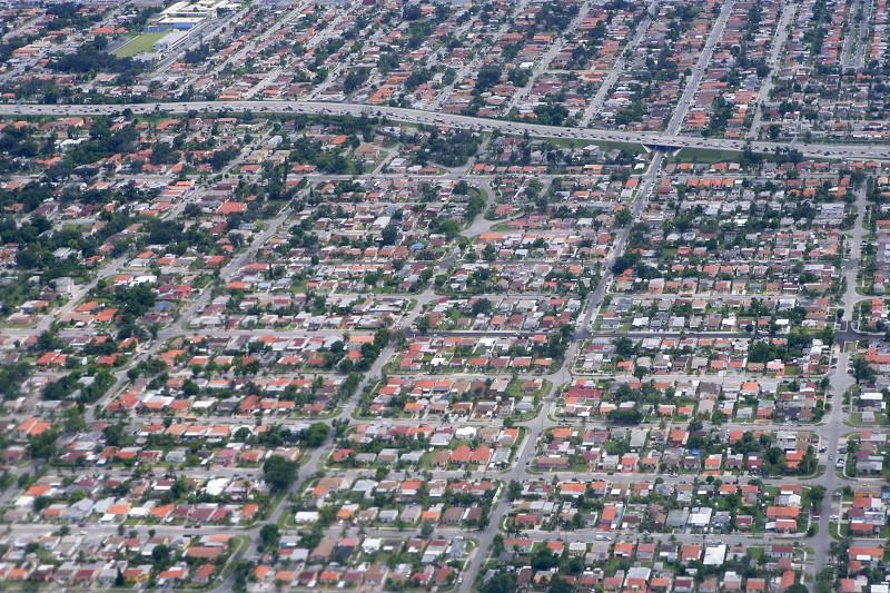 Aerial view of residential houses in Houston Texas photo