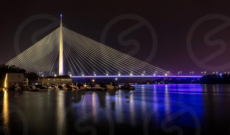 Beautiful Ada bridge in Belgrade Serbia at night  photo