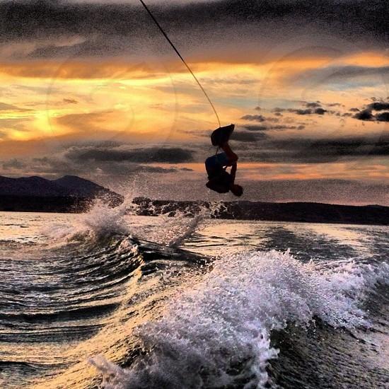 Wake boarding barrel role. Yuba Utah  photo