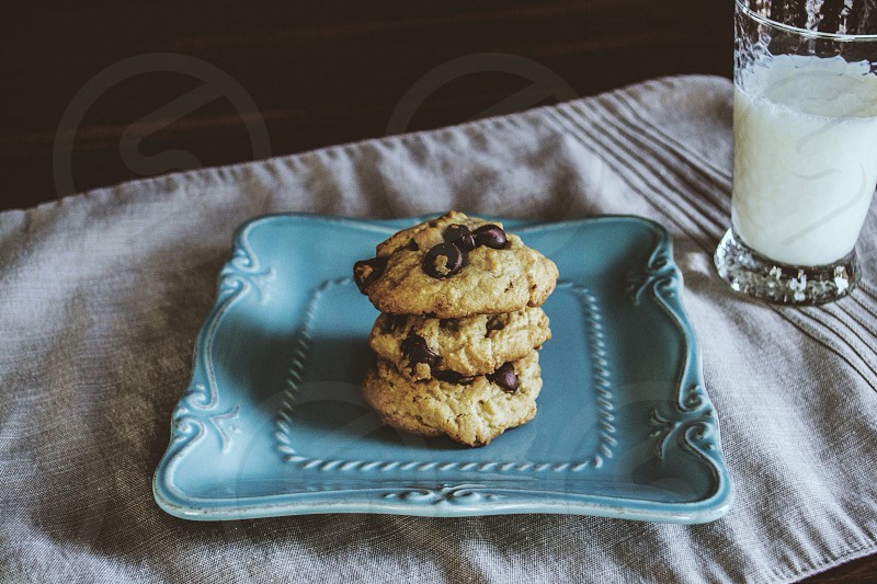 brown cookies on blue rectangular ceramic plate photo