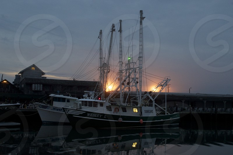 Fishing Fleet at Dawn docked at The Lobster House in Cape May NJ photo