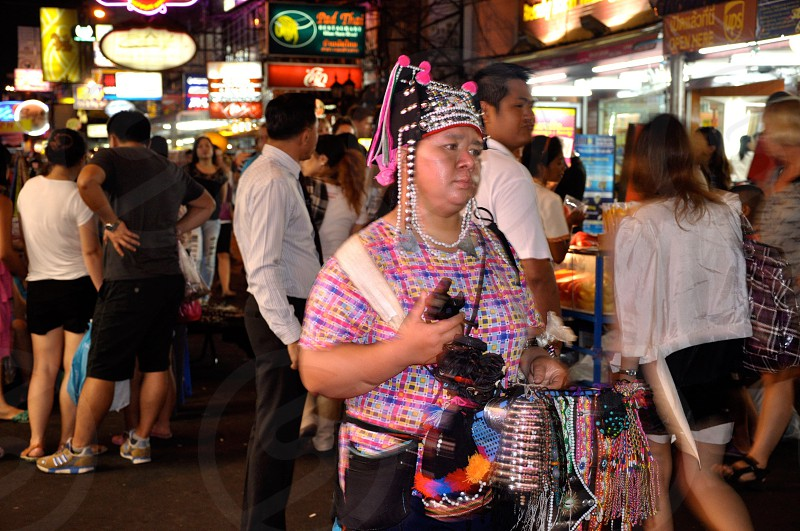 Kao San Rd Bangkok at night.  photo