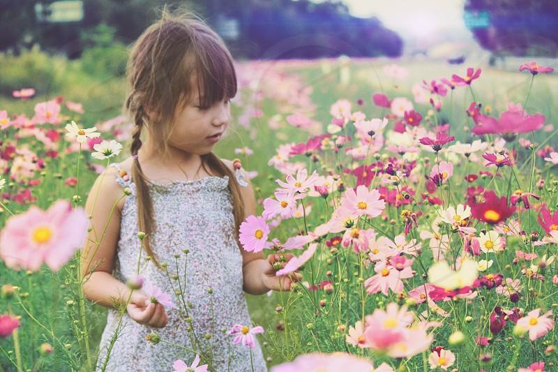 Kids love flowers  photo