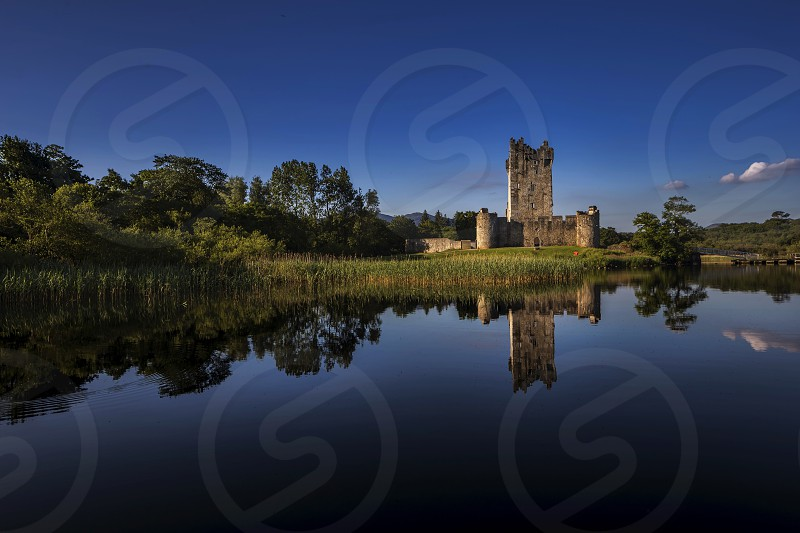 castle ruins across pond photo