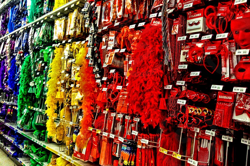 Colorful decorations inside a party store. photo