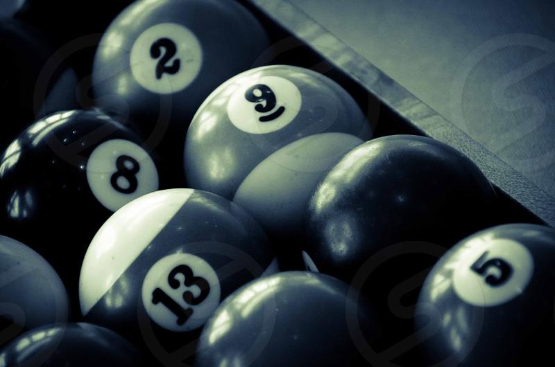 Pool balls pool table monochrome numbers photo