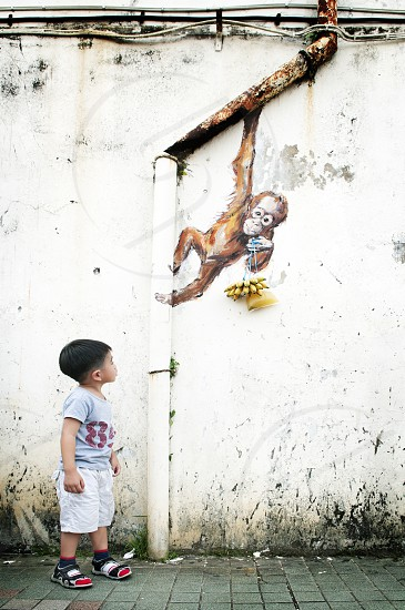 Curious young boy looking at wall mural. photo