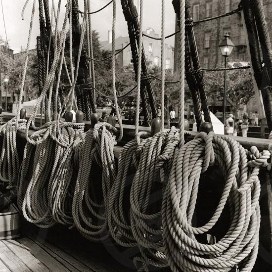 Sailing Ship Ropes at Savannah Port photo