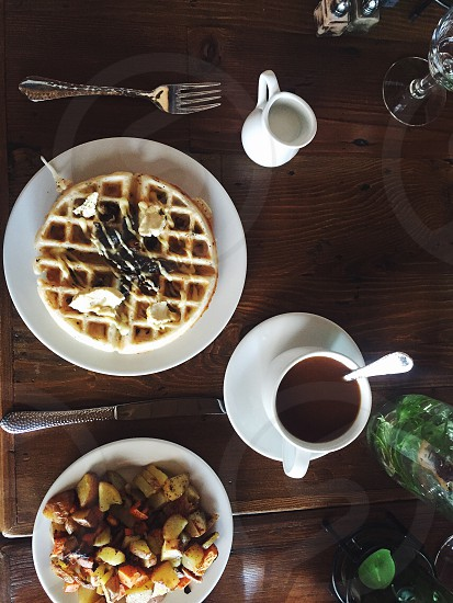 Waffles breakfast light natural organic coffee food styling brunch potatoes photo