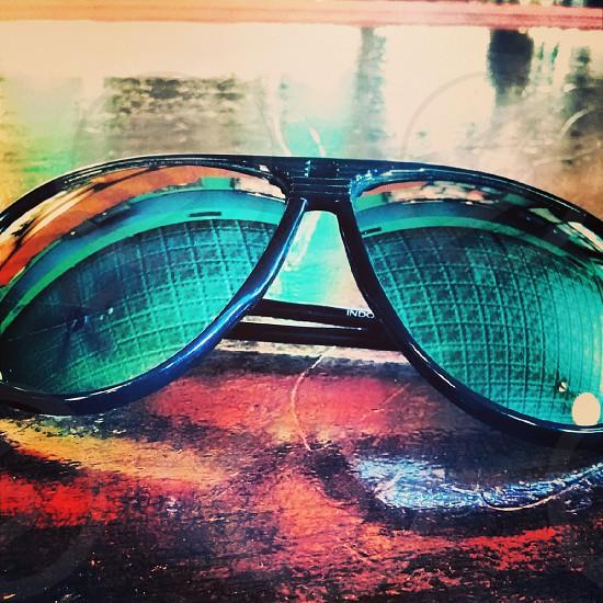 sunglasses reflection green aviator photo