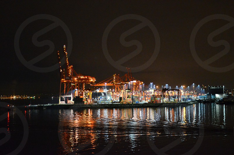 Industrial dock at night photo