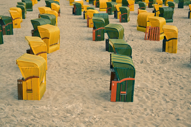 Seats on the beach in Rügen Germany photo