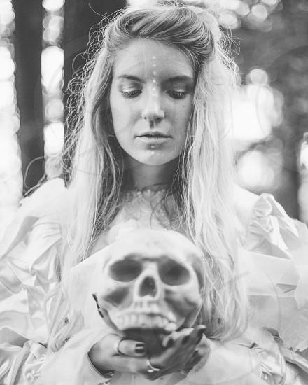 white witch skull Halloween  photo