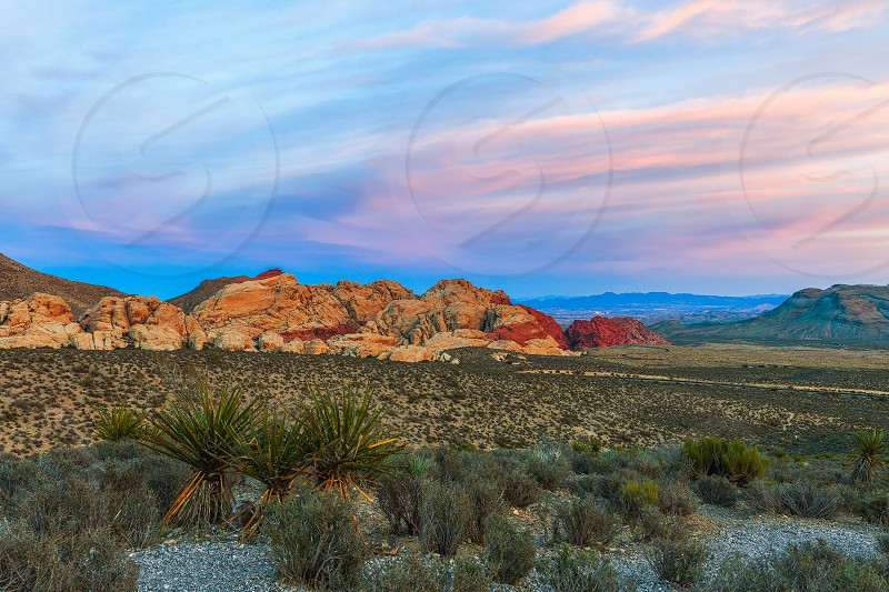 View from High Point Overlook at sunset. Red Rock Canyon National Conservation Area. Nevada. USA  photo
