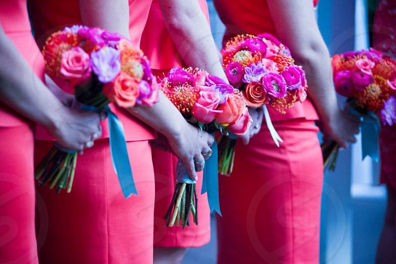 Pattern wedding bridesmaids summery colors flowers violet orange yellow peach elegant  photo