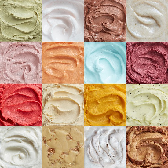 Colorful pattern of ice cream with different flavors photo