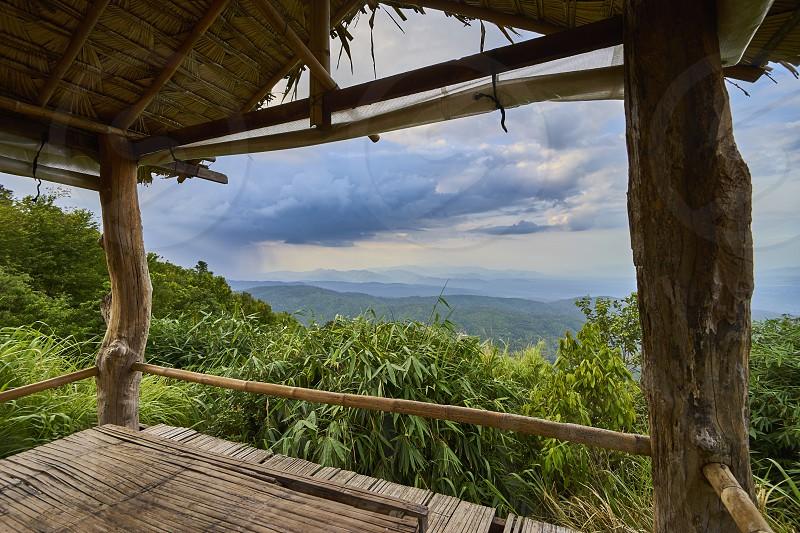 Mountain view through Gazebo. photo