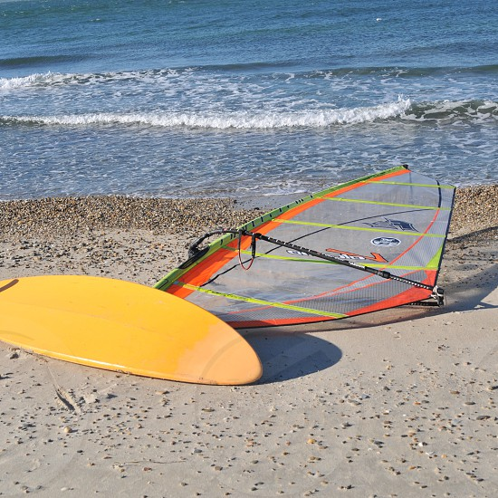 Windsurfing board by the lake photo