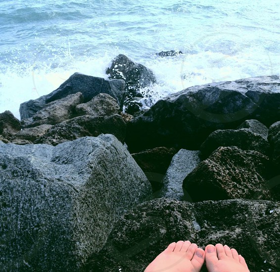 venice beach florida. beautiful rocks clean beach toes on the shore photo