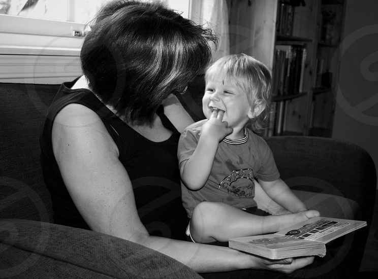 black and white photograph of a woman and child photo