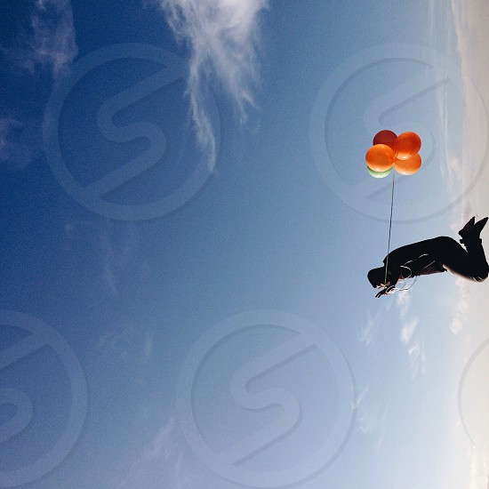 person jumpig with balloons photo
