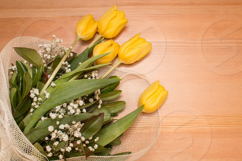 Yellow Tulips Bouquet Flowers Isolated On Wooden Background photo