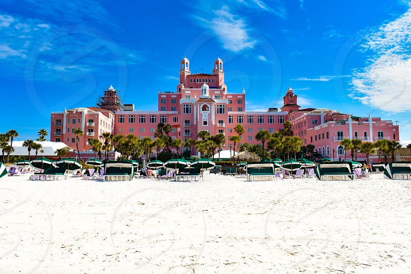 St. Pete Beach Florida. January 25 2019.  Panoramic view from the beach of The Don Cesar Hotel. The Legendary Pink Palace of St. Pete Beach (3) photo