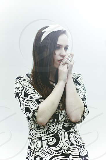 women's white black abstract dress photo