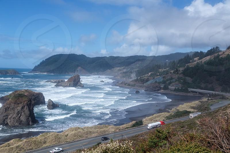 Driving along Oregon coast for road trip. photo