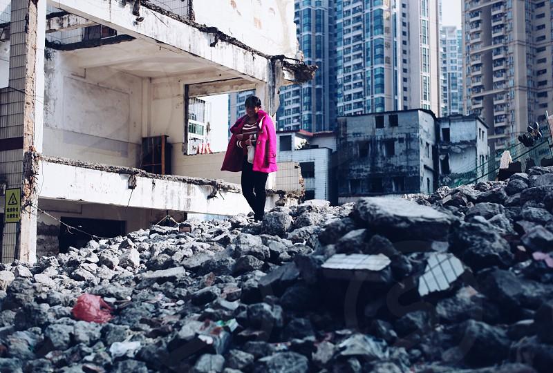 Guangzhou China city life pink female ruins photo