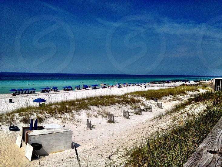 white and green beach photo