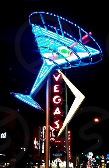 Neon Sign Vegas Martini Glass Fremont Street photo