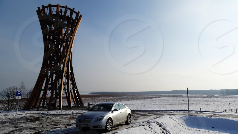 stop parking lot car travel lithuania observation tower landscape relax take a brake look around photo