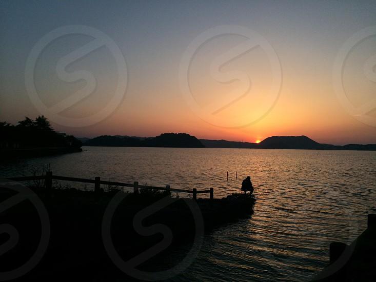 夕日と釣り人(Setting sun and Angler) photo
